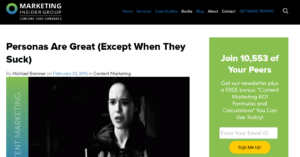 """Marketing Insider Group Headline """"Personas Are Great (Except When They Suck)"""""""