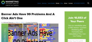 """Marketing Insider Group Headline """"Banner Ads Have 99 Problems And A Click Ain't One"""""""