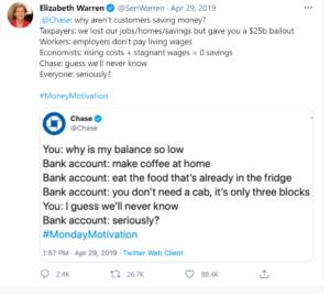 Elizabeth Warren responds to Chase Bank tweet about overspending.