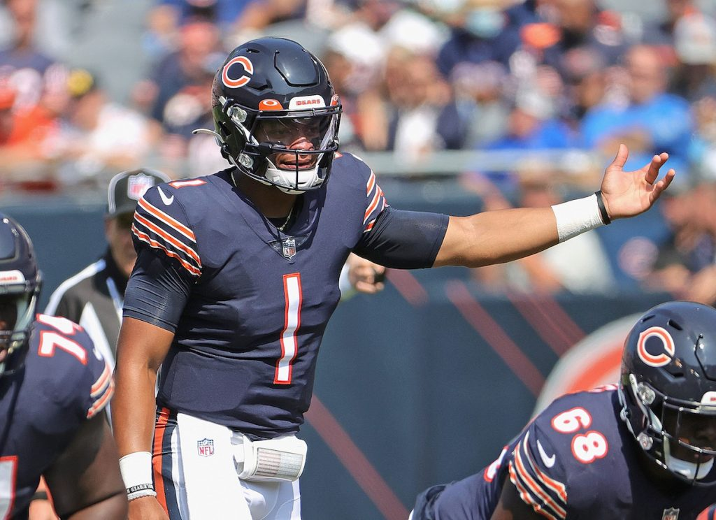 Justin Fields during the Chicago Bears Week 2 win.