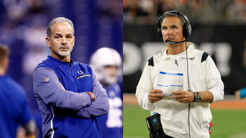 (L-R) Head coach Chuck Pagano of the Indianapolis Colts looks on prior to the game against the Denver Broncos at Lucas Oil Stadium on December 14, 2017 in Indianapolis, Indiana; Jacksonville Jaguars head coach Urban Meyer looks at the scoreboard during the game against the Jacksonville Jaguars and the Cincinnati Bengals on September 30, 2021, at Paul Brown Stadium in Cincinnati, OH.